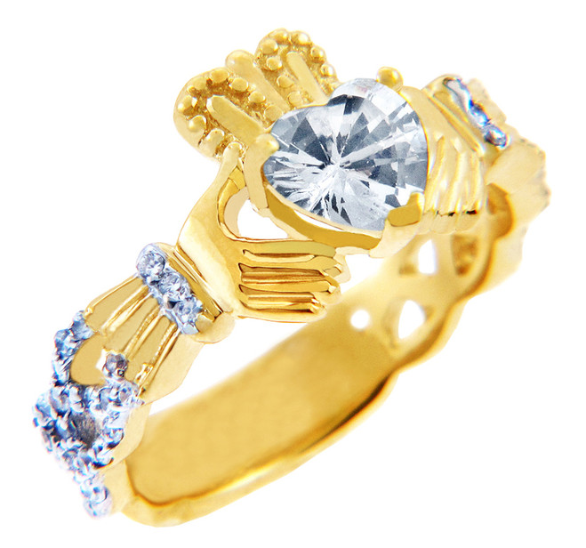 18K Yellow Gold 0.40 Ct  Diamond Band Claddagh Ring with 1.02 Ct. SI Clear Diamond