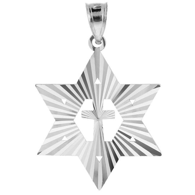 "White Gold Jewish Star of David Cross Pendant (M) 1.25"""