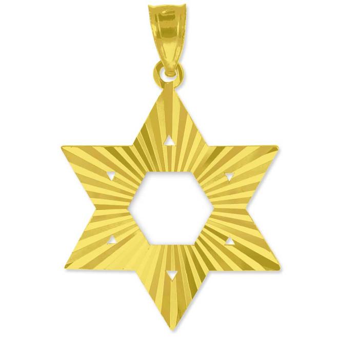 "Yellow Gold Jewish Star of David Pendant (M) 1.25"""