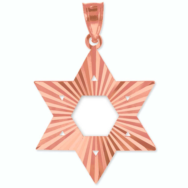 "Rose Gold Jewish Star of David Pendant (M) 1.25"""