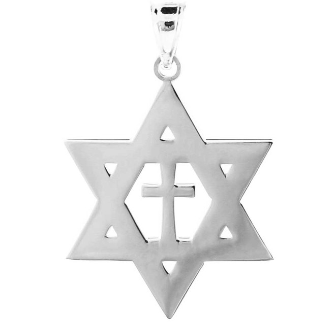 White Gold High Polished Star of David with Cross Pendant