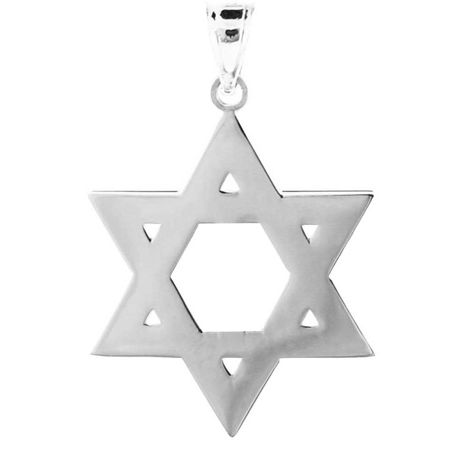 925 Sterling Silver High Polished Star of David Pendant