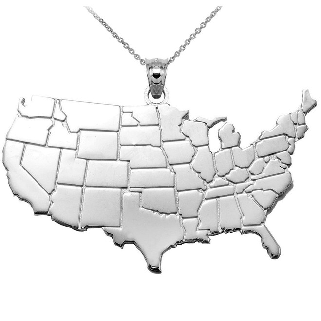 United States Map Silver Pendant Necklace