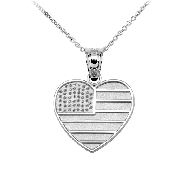 White Gold American Flag Heart Charm Pendant Necklace