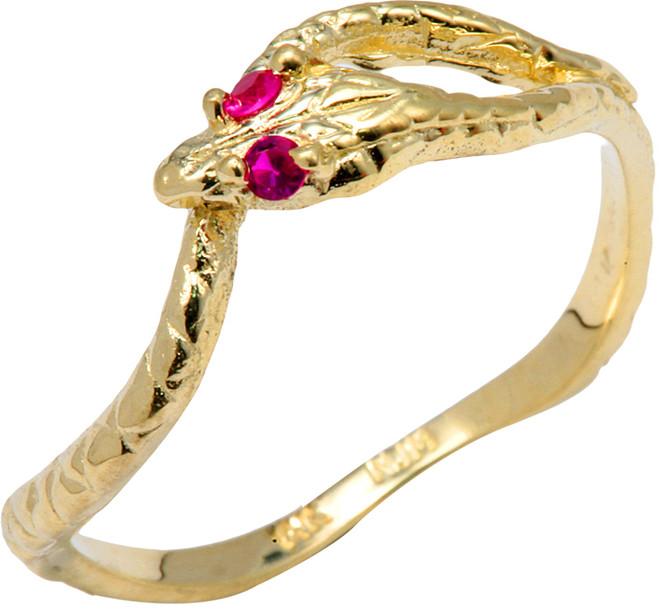 Yellow Gold  CZ Ouroboros Snake Ring
