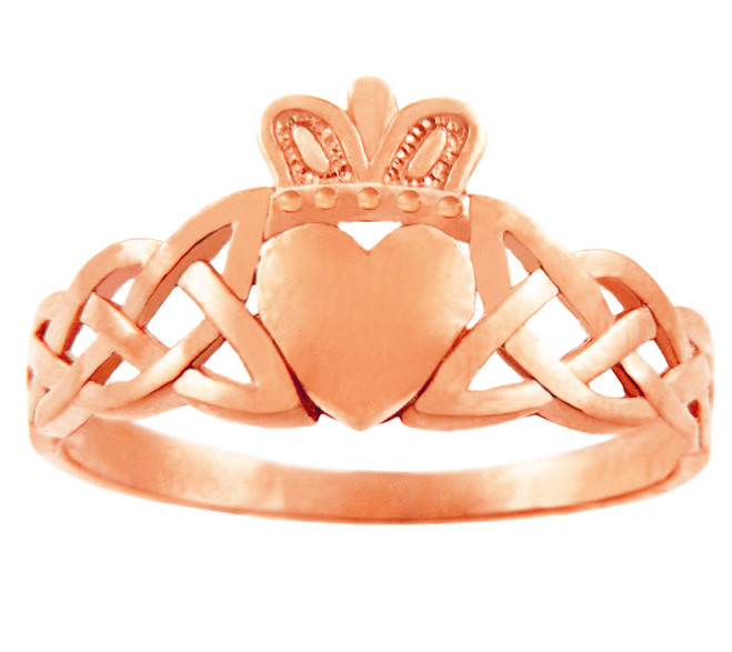 Rose Gold Women's Claddagh Ring with Trinity Band