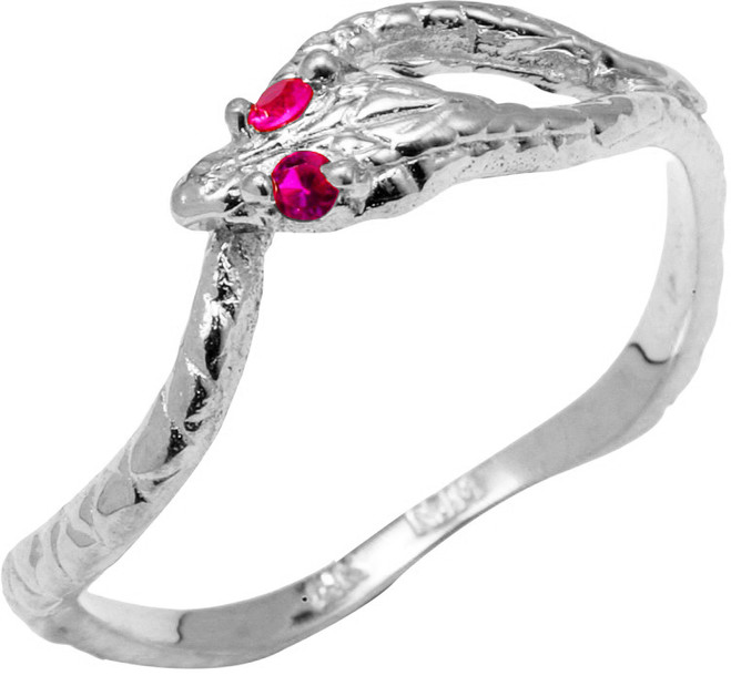 925 Sterling Silver CZ Ouroboros Ring