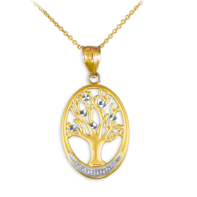 Gold Tree Of Life Oval Charm Pendant Necklace