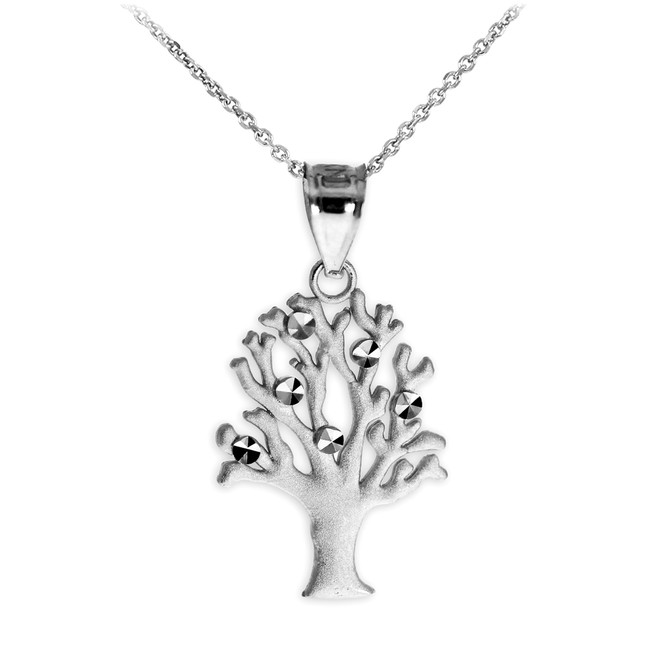 Silver Tree Of Life Charm Pendant Necklace