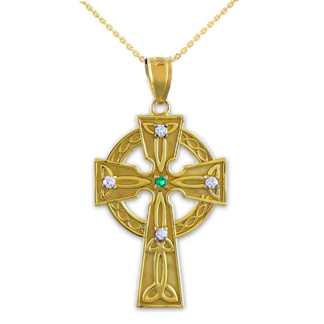 Gold Celtic Trinity Diamond Cross Pendant Necklace with Emerald
