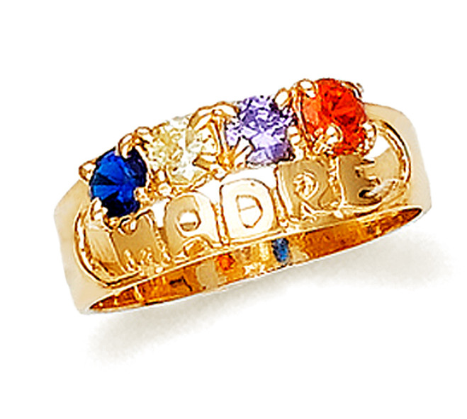 Gold Madre Ring with 4 Birthstones