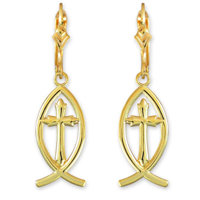 Gold Ichthus Cross Earrings