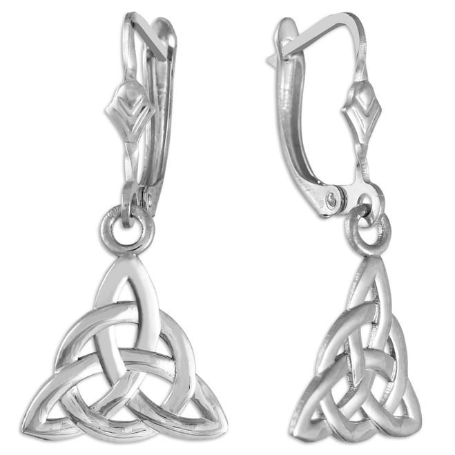 White Gold Irish Celtic Trinity Earrings