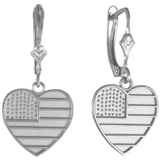 Heart Shape USA Flag Silver Earrings