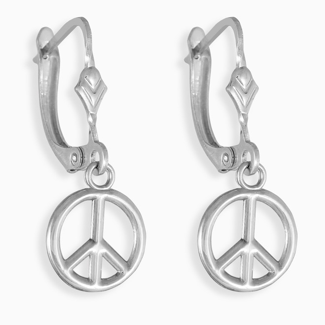Small Peace Symbol White Gold Earrings