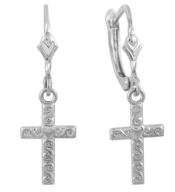 Sterling Silver Twirl Cross Dangle Earrings