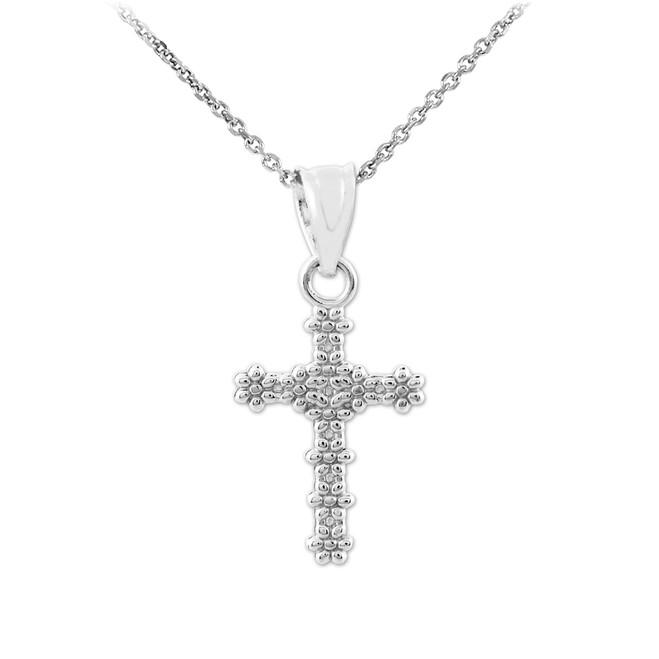 White Gold Floral Cross Charm Pendant Necklace
