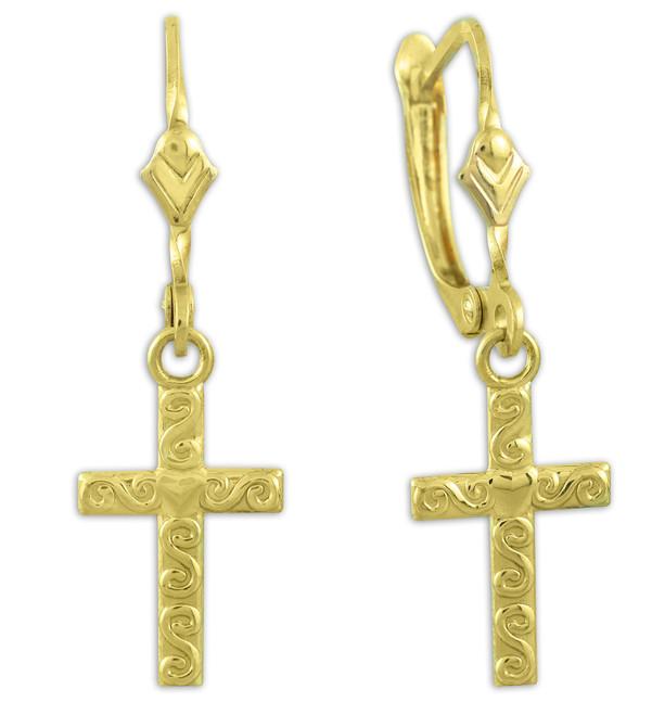 Gold Twirl Cross Dangle Earrings