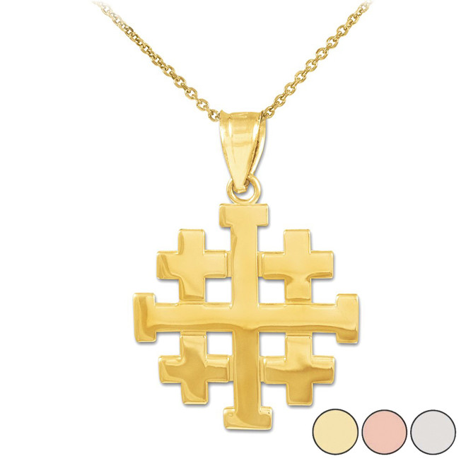 "Polished Jerusalem ""Crusaders"" Cross Pendant Necklace in Gold (Yellow/ Rose/ White)"