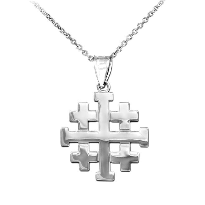 "Polished White Gold Jerusalem ""Crusaders"" Cross Pendant Necklace"