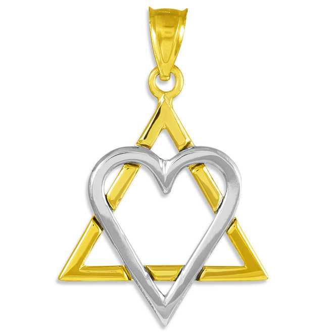 """Two-Tone Gold Star of David Heart Large Pendant (1.4"""")"""