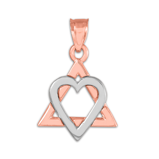 """Two-tone Rose Gold Star of David Heart Charm Pendant (0.9"""")"""