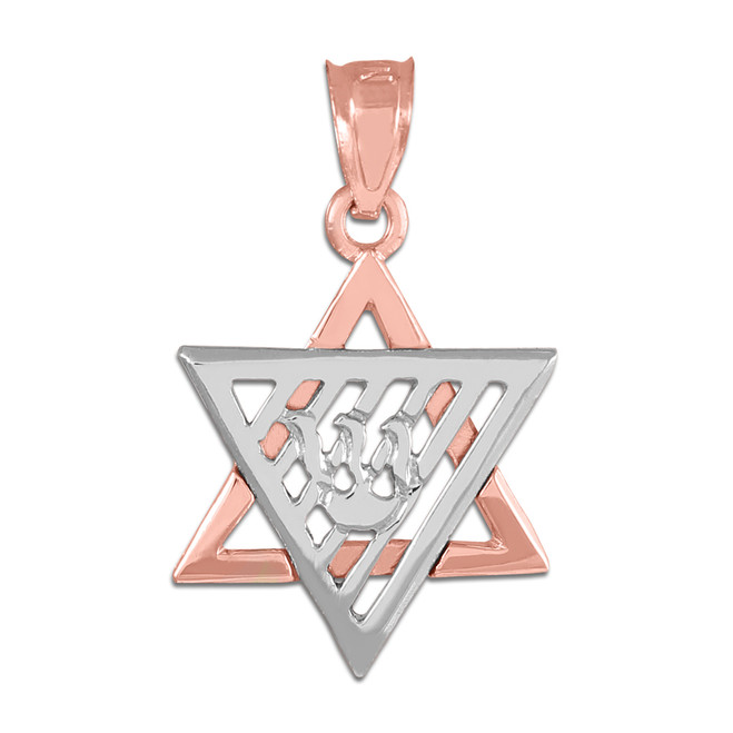 Two-Tone Rose Gold Flaming Star of David Charm Pendant