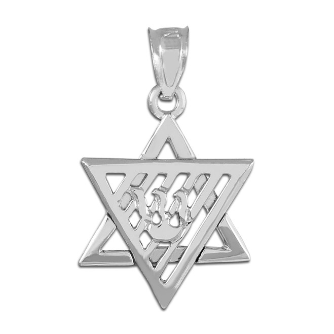 White Gold Flaming Star of David Charm Pendant