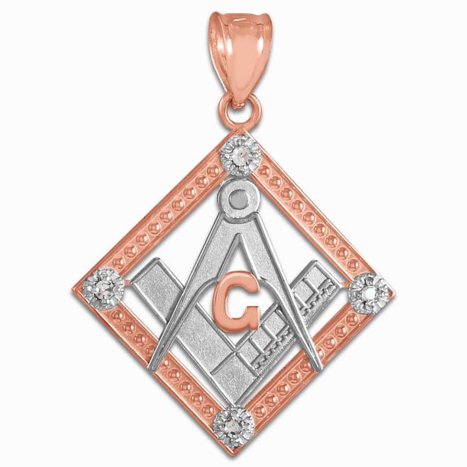 Two-Tone Rose Gold Square Freemason Diamond Masonic Pendant Necklace