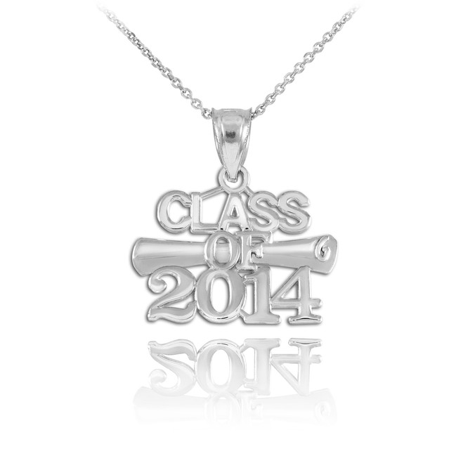 CLASS OF 2014 Graduation Silver Charm Pendant Necklace