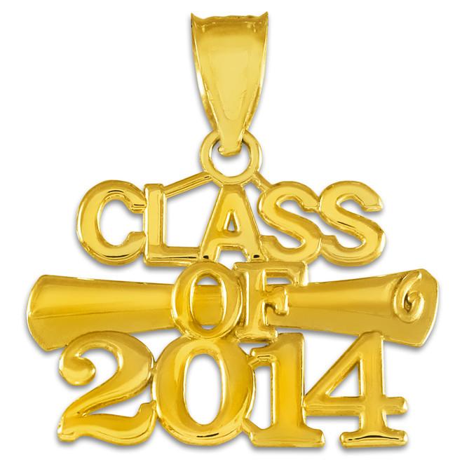 """CLASS OF 2014"" Graduation Gold Charm Pendant"