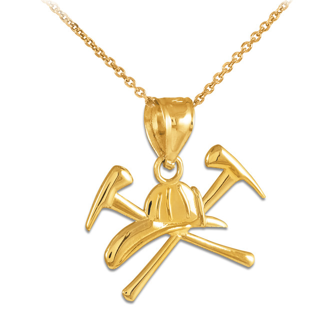 Gold Firefighter Axes & Helmet Charm Pendant Necklace