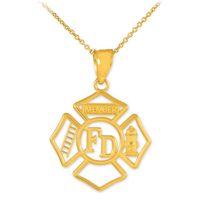 Gold Fireman Open Badge Pendant Necklace