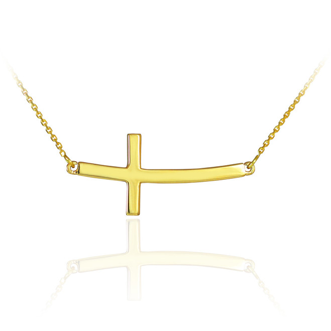 14K Solid Gold Sideways Curved Cross Necklace