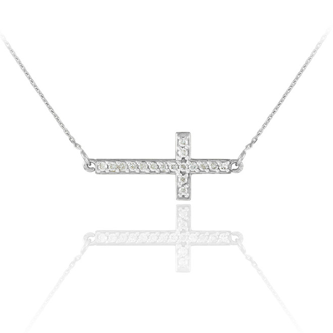 14K White Gold Diamond Sideways Cross Cute Necklace