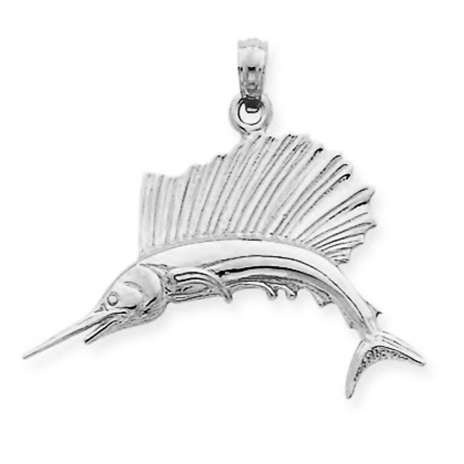 White Gold Polished Sailfish Pendant