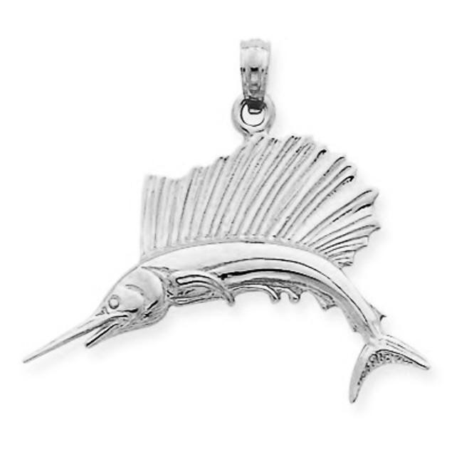 925 Sterling Silver Sailfish Pendant