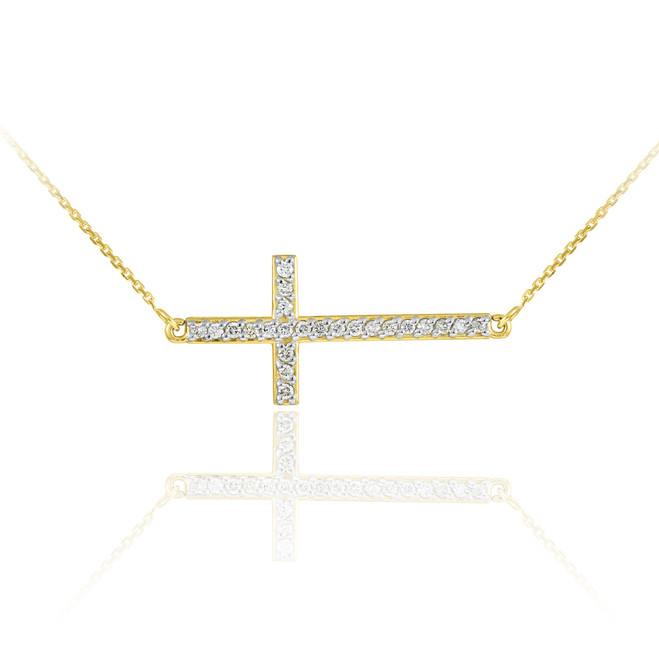 14K Gold Sideways Diamond Cross Pendant Necklace