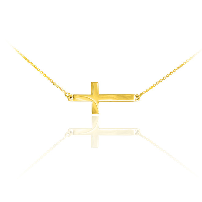 14K Solid Gold Sideways Cross Cute Necklace