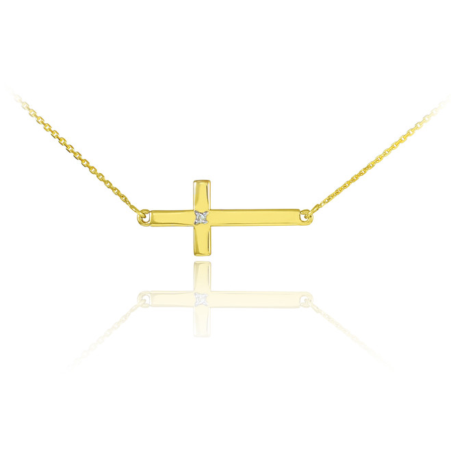 14K Gold Sideways Cross Cute Diamond Necklace