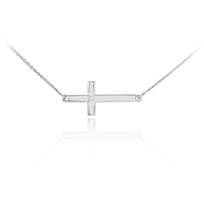 14K White Gold Sideways Cross Cute Diamond Necklace