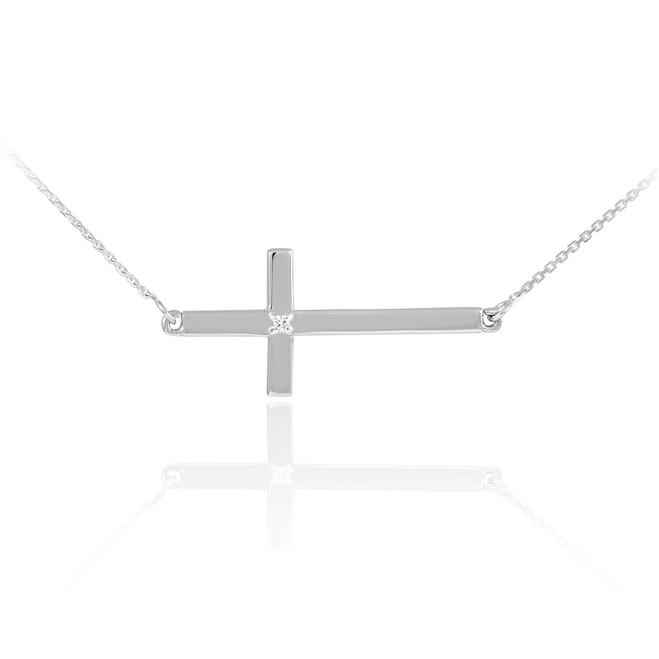 14K Solid White Gold Sideways Diamond Cross Necklace