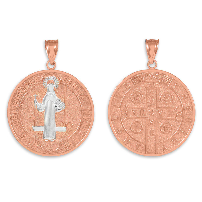 Solid Rose Gold St. Benedict Coin Medallion Pendant (L)