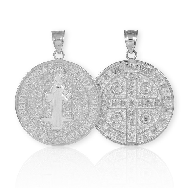Solid White Gold St. Benedict Coin Medallion Pendant (M)