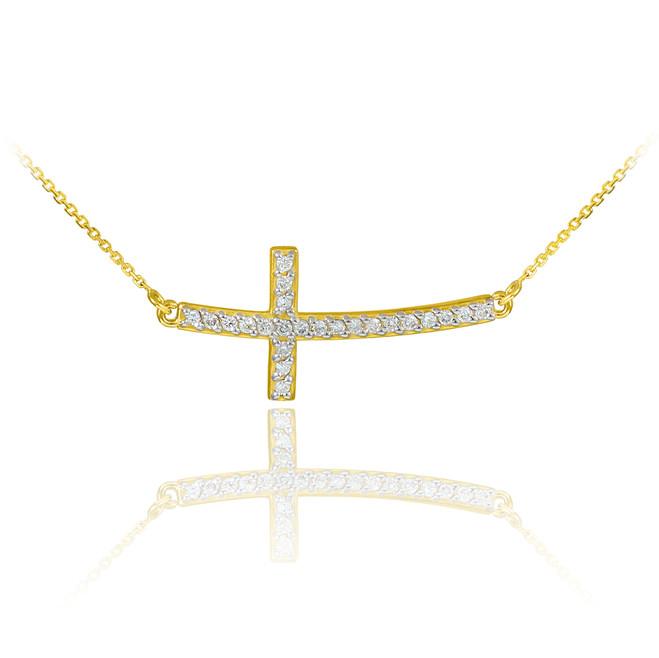 14K Gold Sideways Curved Cross CZ Pendant Necklace