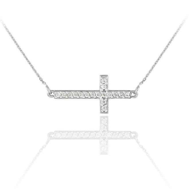 14K White Gold CZ Sideways Cross Cute Necklace