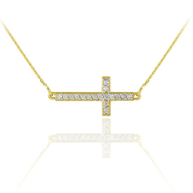 14K Gold Sideways Cross Cute CZ Necklace