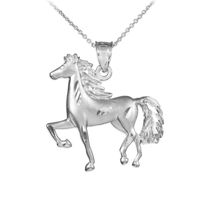 Satin Finish Diamond Cut White Gold Horse Charm Pendant Necklace