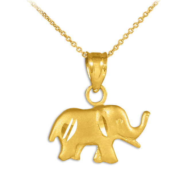 Satin Finish Cute Elephant Gold Charm Pendant Necklace