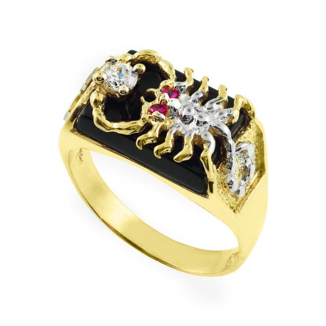 Men's Gold Black Onyx Scorpion Ring with Cross